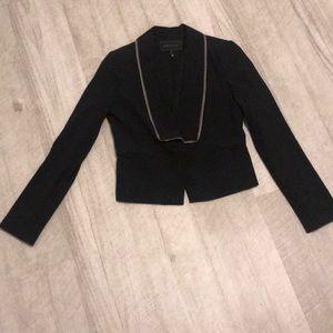 Bcbg black blazer with beige trim EUC